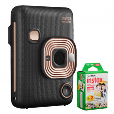 FUJIFILM INSTAX Mini LiPlay Hybrid Instant Camera (Elegant Black) with 20 Exposures