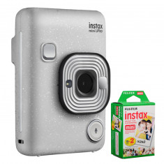 FUJIFILM INSTAX Mini LiPlay Hybrid Instant Camera (Stone White) with 20 Exposures