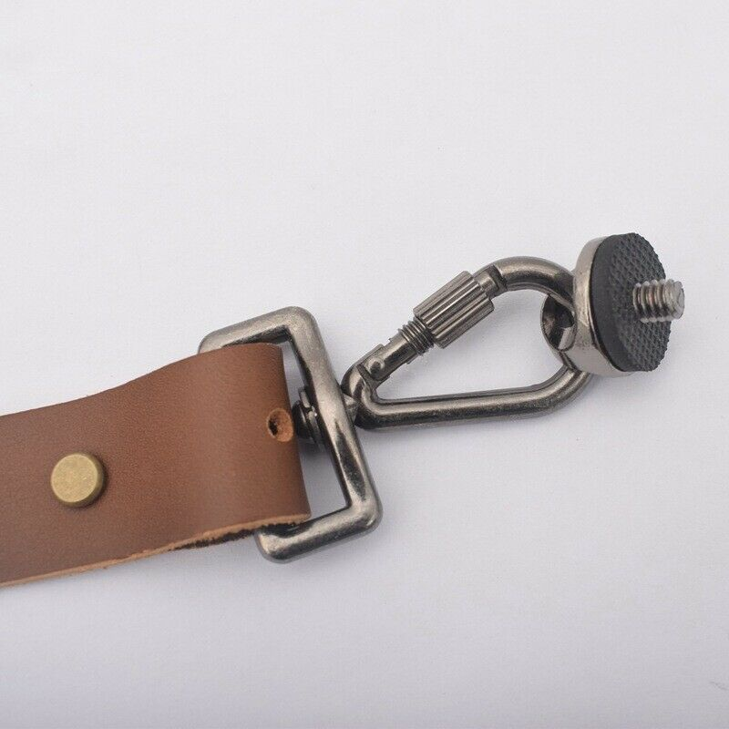 Dual Multi Camera Brown Leather Harness Shoulder Strap