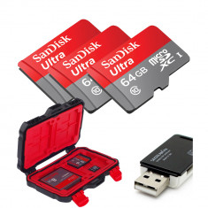 3x SanDisk 64GB Ultra UHS-I microSDXC Memory Card With Card Reader And LYNCA KH-10 Waterproof Memory Card  Storage Box