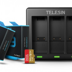 GoPro Power Package - 2 x Telesin Battery, TELESIN 3-Channel USB Battery Quick Charger And SanDisk 64GB Extreme Card