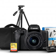 Canon EOS M50 Mark II Mirrorless Camera with 15-45mm Lens Boya M1 Mic, 32GB Extreme Tripod, Capture Card and Shoulder Bag