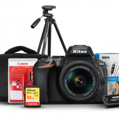 Nikon D5600 DSLR Camera With 18-55mm Lens, BOYA BY-M1, SanDisk 32GB Extreme, Aluminum Tripod, Shoulder Bag, Capture Card And Cleaning kit