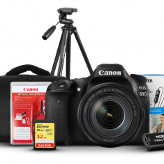 Canon EOS 80D With 18-55mm lens, BOYA BY-M1, SanDisk 32GB Extreme, Aluminum Tripod, Shoulder Bag, Capture Cards, Cleaning Kit