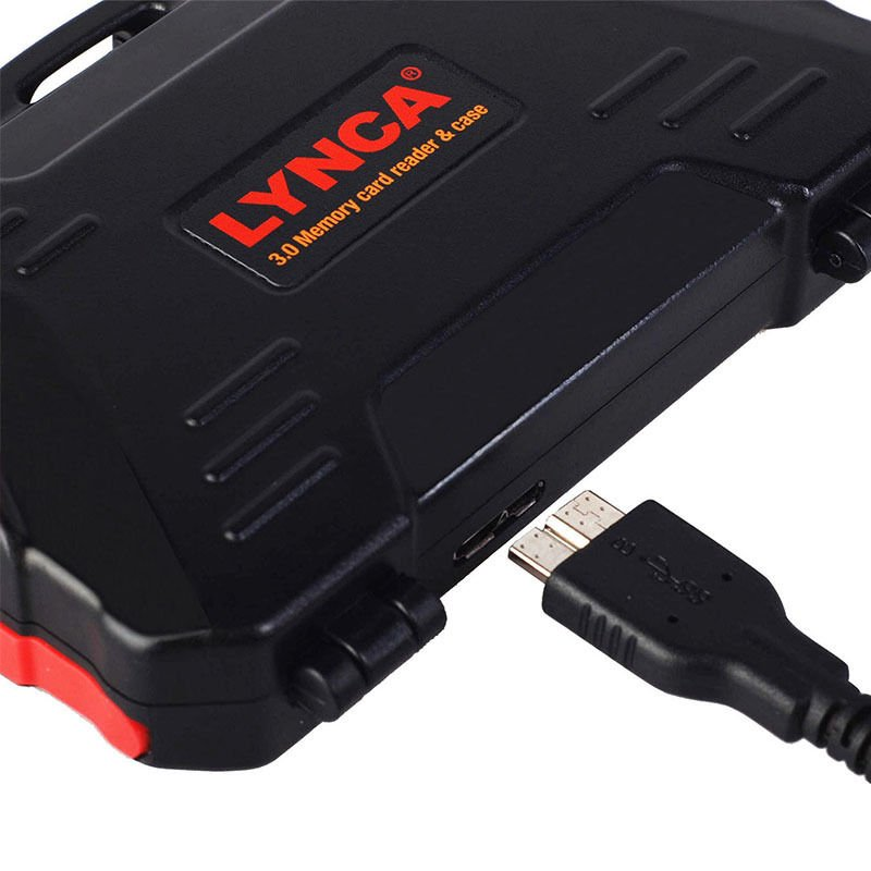 LYNCA Waterproof Memory Card Case with Built-In USB 3.0 Card Reader