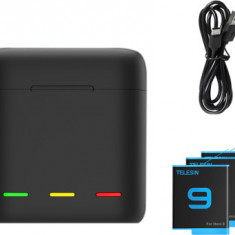 TELESIN 3-Channel USB Battery Quick Charger with 3x Telesin Batteries