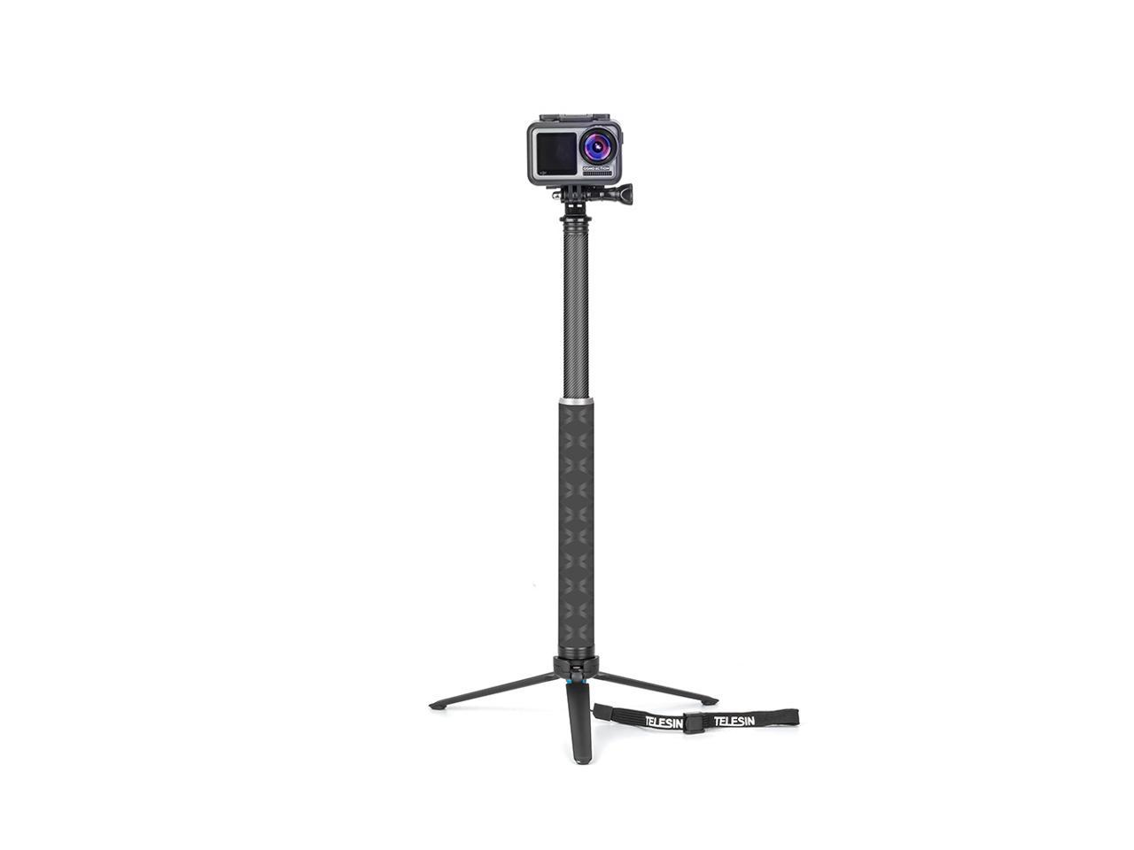 TELESIN GP-MNP-90T 90cm Carbon Fiber Foldable Extendable Selfie Stick with Tripod for Action Sports Camera Smartphone