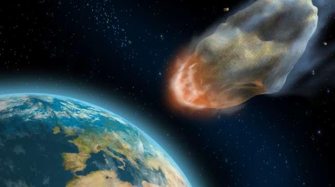 Ilustrasi asteroid mendekati Bumi. (Shutterstock)