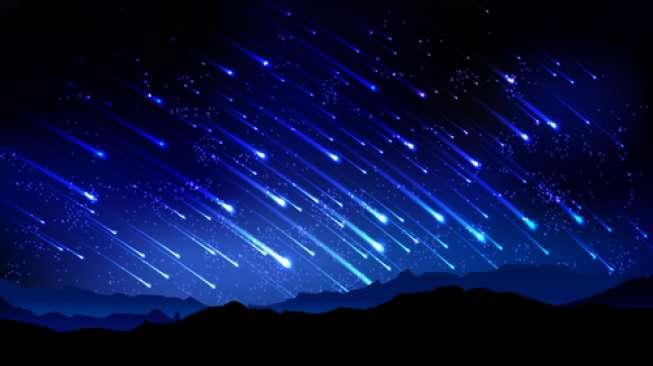 Ilustrasi hujan meteor (Shutterstock).