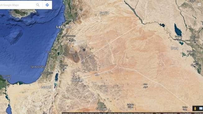 Google Maps menunjukkan Israel ketika Suara.com mencari peta Palestina pada Selasa (9/8). Google Maps tak mengakui eksistensi Palestina [Suara.com/Google Maps].