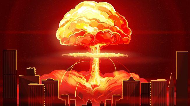 Ilustrasi bom nuklir meledak. [Shutterstock]