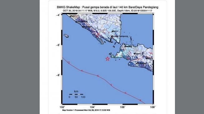 Ilustrasi titik gempa Selat Sunda. [Twitter/InfoBMKG]