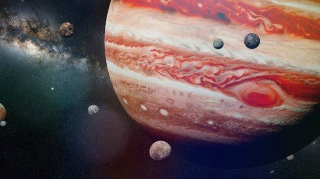 Ilustrasi planet Jupiter dengan bulan-bulannya. [Shutterstock]