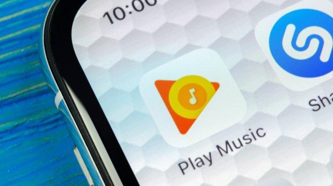 Ilustrasi aplikasi Google play music di sebuah smartphone. [Shutterstock]