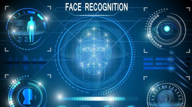 Ilustrasi teknologi pengenalan wajah. [Shutterstock]