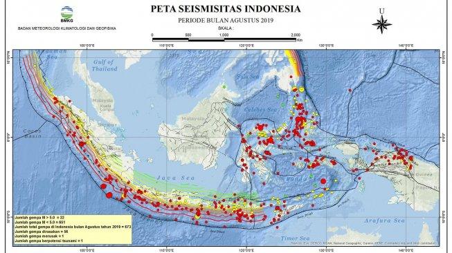 Ilustrasi peta titik gempa di Indonesia. [Facebook/Daryono BMKG]