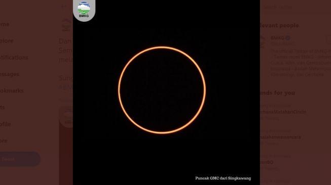 Gerhana matahari cincin 21 Juni 2020 merupakan gerhana kedua di bulan ini. Foto: gerhana Matahari Cincin di Singkawang, Kamis (26/12/2019). [Twitter/BMKG]