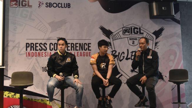 Konferensi pers Indonesia Gaming League (IGL) Season 2 di Jakarta, Kamis (16/1/2020). [Suara.com/Tivan Rahmat]