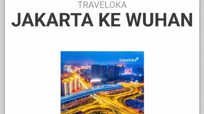 Tangkapan Layar Promosi Traveloka ke Wuhan. (ist.)