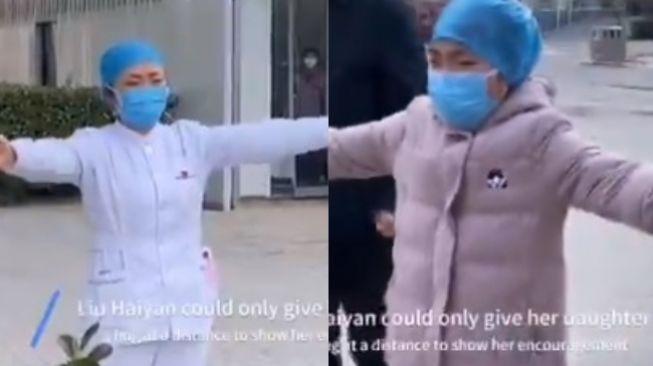 Video viral Liu Haiyan, perawat yang perangi virus corona bertemu anaknya (twitter @kal_pesh_jadhav)