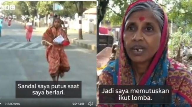 Kisah Lata Kare, nenek ikut lomba lari demi uang untuk pengobatan suami (twitter @BBCIndonesia)
