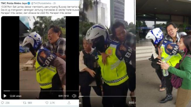 Viral polantas gendong penumpang busway kena serangan jantung ke UGD (twitter @TMCPoldaMetro)