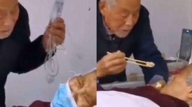 Viral video pasangan lansia pasien virus corona (twitter)