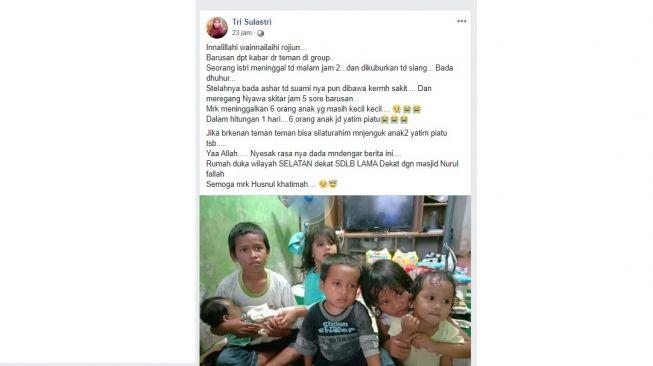 Viral kisah suami susul istri yang meninggal hanya selang beberapa jam (Facebook Tri Sulastri)