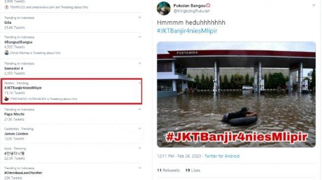 Tagar #JKTBanjir4niesMlipir masuk trending topik di Twitter, Rabu 26 Februari 2020 (twitter)