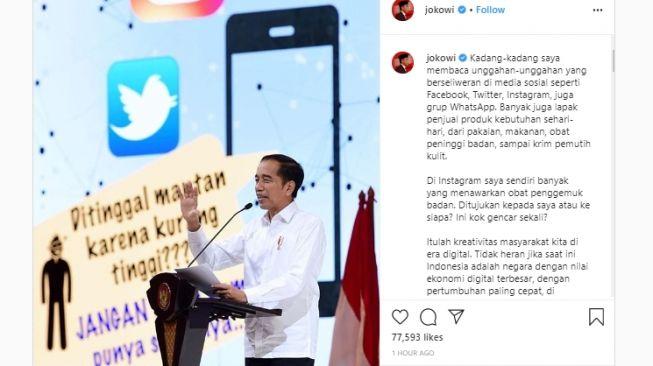 Jokowi saat mengisi acara Indonesia Digital Economy 2020 di The Ritz Carlton, Pacific Place, Jakarta, Kamis (27/2/2020). (Instagram/Jokowi)