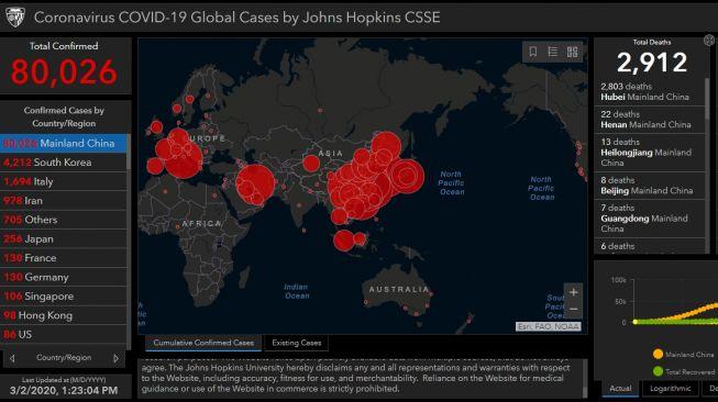 Peta Sebaran Kasus Virus Corona di Dunia (situs: gisanddata.maps.arcgis.com)