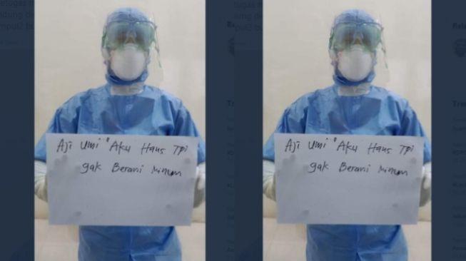 Viral perawat pakai baju hazmat (twitter)