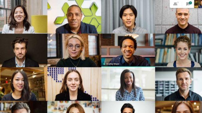 Mirip Zoom, Google Meet kini bisa tampung 16 orang di satu layar. [Antara/Dok Google]