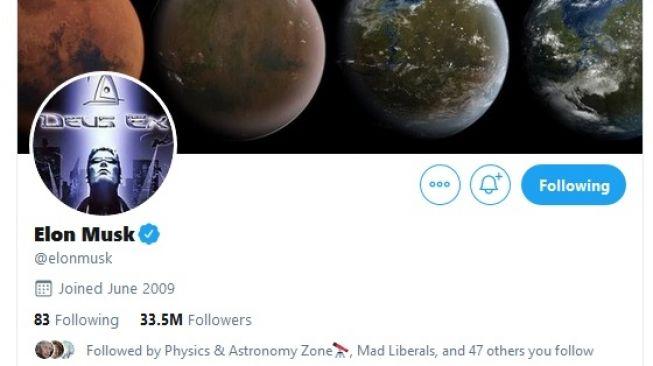 Akun Twitter Elon Musk, pengusaha yang memimpin Tesla dan SpaceX. [Dok Twitter]