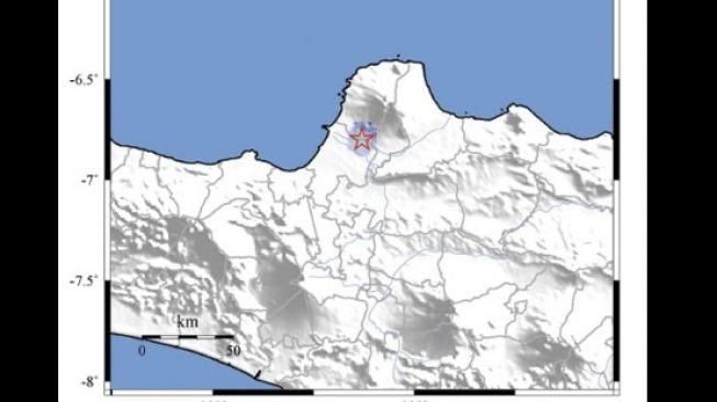 Titik pusa Gempa Kudus yang dipicu oleh Sesar Muria pada Sabtu (2/5/2020). [Dok BMKG]