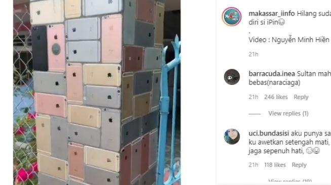 Pagar rumah dari iPhone. (Instagram/makassar_iinfo)