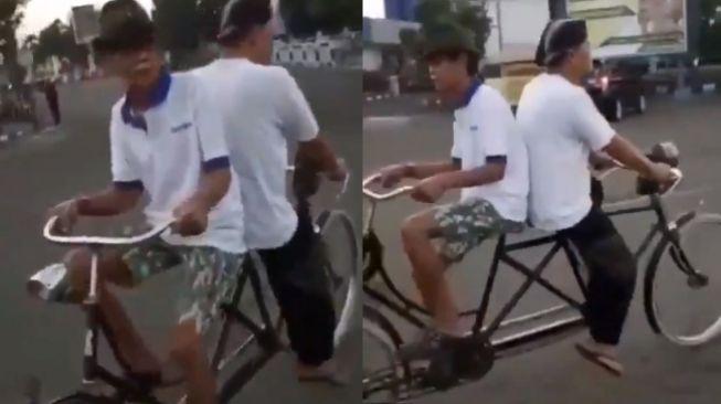 Sepeda tandem unik - (Twitter/@merapi_news)