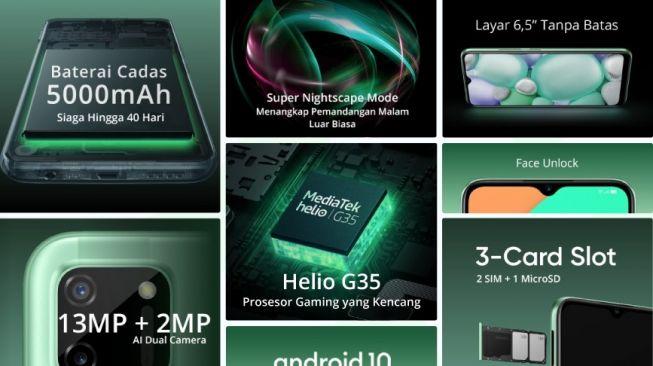 Spesifikasi Realme C11 yang dibocorkan Lazada. [Foto: Lazada]