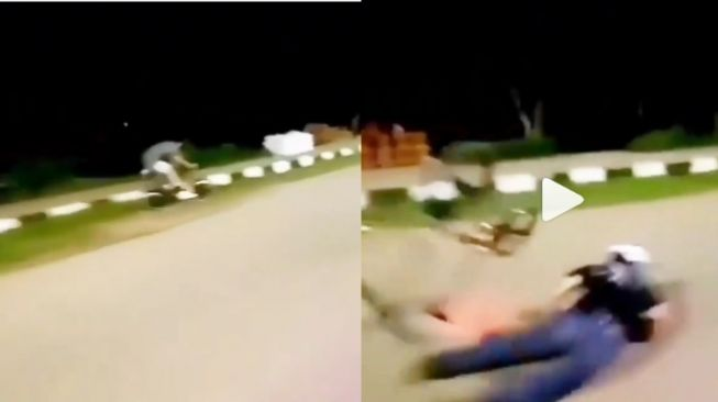 Viral Dua Pesepeda Mendadak Jatuh Bersama Tanpa Sebab (Instagram)