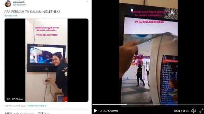 Video viral layar TV terkelupas (Twitter)
