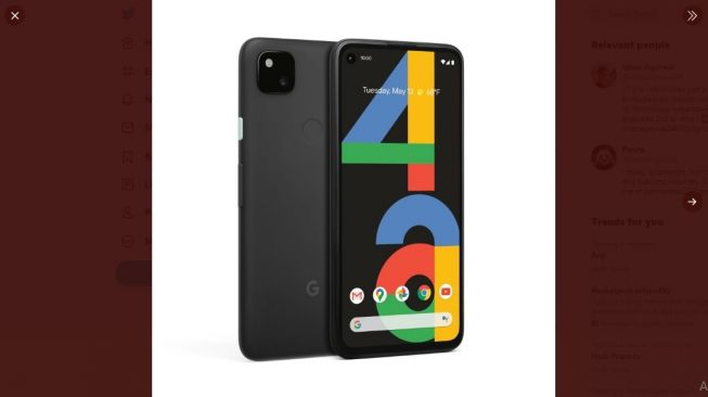 Bocoran Google Pixel 4a. [Twitter/@ishanagarwal24]