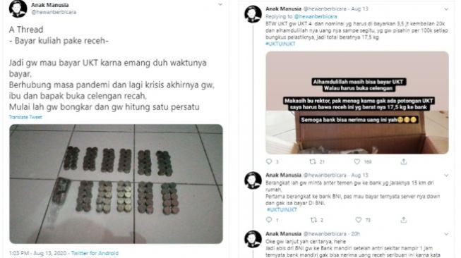 Viral Bayar UKT Pakai Receh, Pecah Celengan Gara-gara COVID-19 (Twitter)