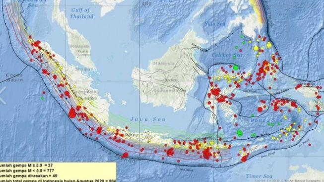 Titik-titik gempa di Indonesia selama Agustus 2020. Jumlah gempa tektonik di Indonesia selama Agustus mencapai 804 kali. [Dok BMKG]