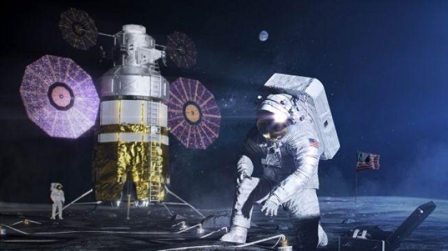 Ilustrasi astronot di Bulan. [NASA]
