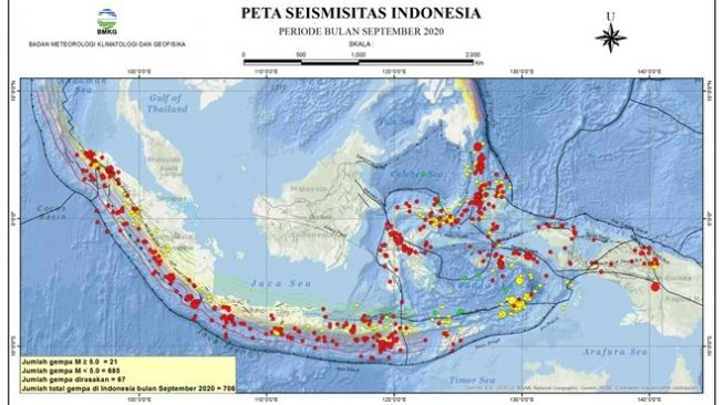 Peta yang menunjukkan titik-titik gempa tektonik di Indonesia selama September 2020. [Dok Daryono/BMKG]