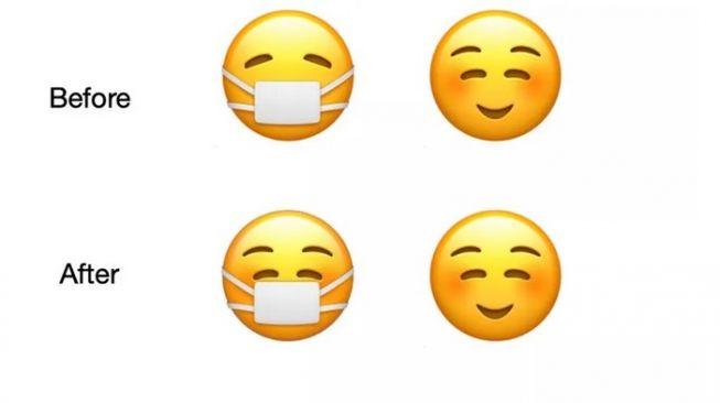 """Emoji maskeran yang dahulu """"diam saja"""" kini bertransformasi membentuk senyuman [Emojipedia via The Verge]."""