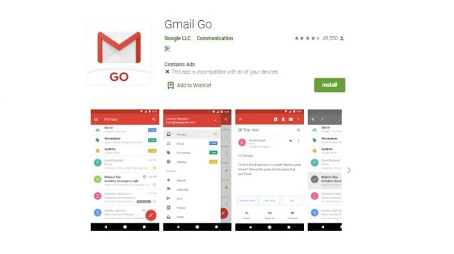 Gmail Go. [Google Play Store]