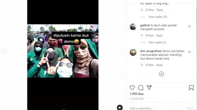 Video curhatan gadis yang diputuskan pacarnya gara-gara demo. - (Instagram/@smart.gram)