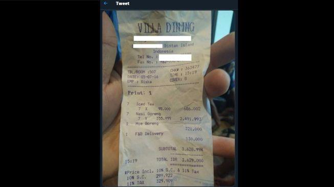 Struk harga es teh Rp. 98 ribu. (Twitter/@okemantaaap)