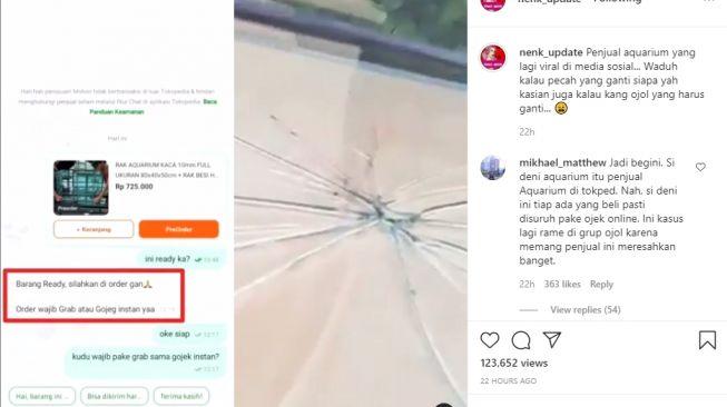 Video ojol antar akuarium yang pecah. - (Instagram/@nenk_update)
